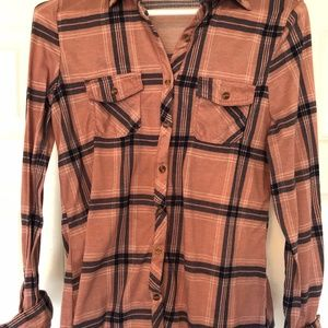 Pink and Navy Blue Button Up Flannel
